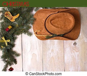 Cowboy christmas on wood background for design - Cowboy...