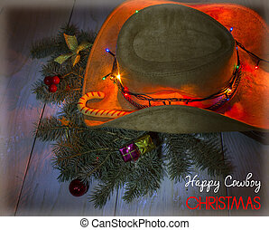 American cowboy hat with Christmas decoration and text