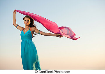 Beautiful young woman wtih red scarf - Beautiful young woman...