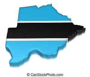 Botswana (clipping path included) - Map of Botswana. 3d...