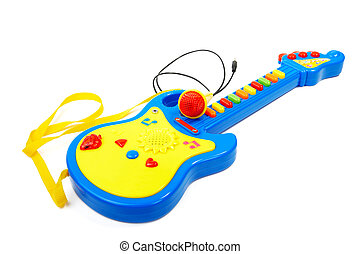 Children's toy guitar with microphone isolated on a white...