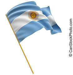 3D Argentina flag with fabric surface texture White...
