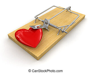 Mousetrap and heart. Image with clipping path