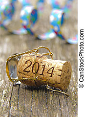Champagne cork opened for new year's 2014 - Champagne cork...