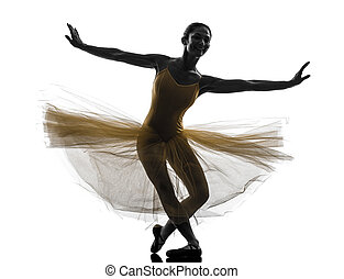 woman ballerina ballet dancer dancing silhouette - one woman...