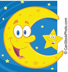 Crescent Moon And Little Star - Smiling Crescent Moon And...