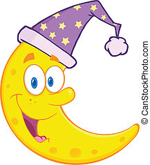 Cute Moon With Sleeping Hat - Smiling Cute Moon With...