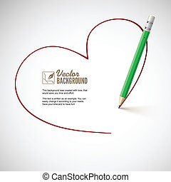 Pencil drawing heart. Background for your love letters