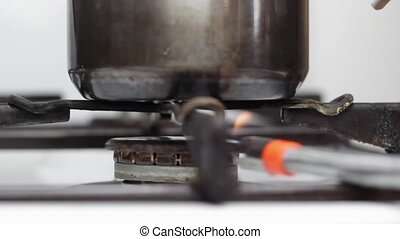 gas stove - lighting Gas stove closeup
