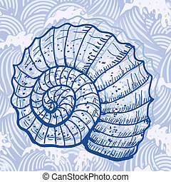 Sea shell Original hand drawn illustration in vintage style
