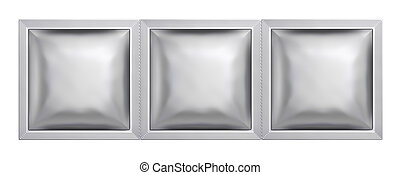 Silver sachet bag package isolated on white background