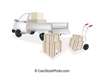 Hand Truck Loading Shipping Box into Pickup Truck - Hand...
