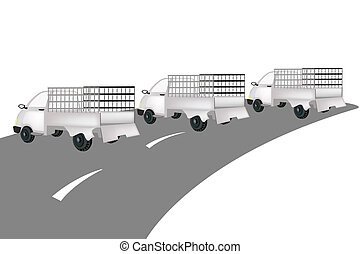 Three Pickup Cargo Truck on The Road - Illustration of Three...