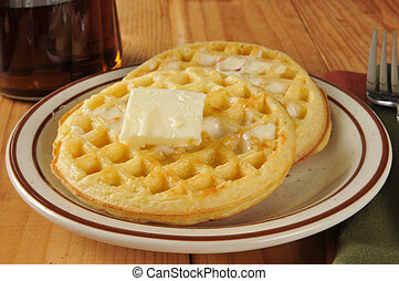 Waffles with butter