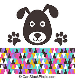 Cartoon dog - Cute black dog head with paws vector...