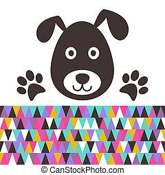 Cartoon dog - Cute black dog head with paws vector...