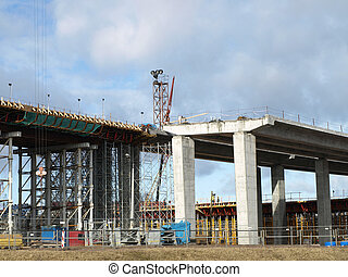 Construction of the Southern bridge in Riga, Latvia