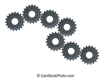 Gear wheels system over white background