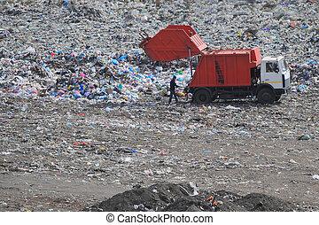 dump - dustmen at work on a dump