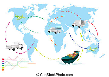 A World Travel Map of Transportation Vehicles. - Detailed...