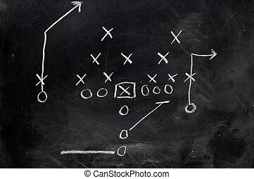 Football X\'s and O\'s - Diagram of football play on black...