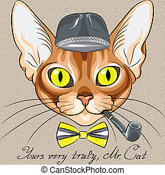 vector  cartoon hipster red cat Abyssinian breed