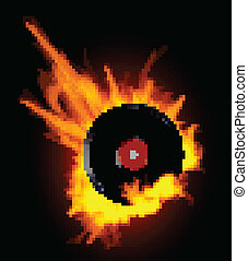 Vinyl Record Disc in Flames