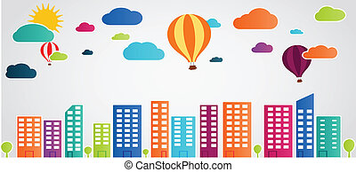 city themed background with clouds - Vector Illustration of...