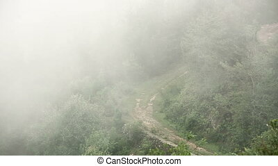 Man riding motorbike in mist, at himalayas - Man riding...