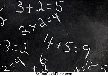 Equations on Chalkboard - Equations on black chalkboard with...