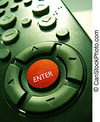 TV remote control isolated on green