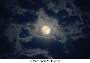 moon - full moon over dark sky with
