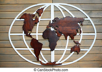 World map carved on wooden tablets