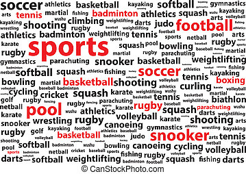 Sports Categories Word Cloud Vector Illustration