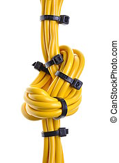 Yellow electrical cables with cable ties