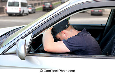 Man fall asleep in the Car - Tired Man fall asleep in a Car...