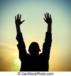 orando, homem, silueta