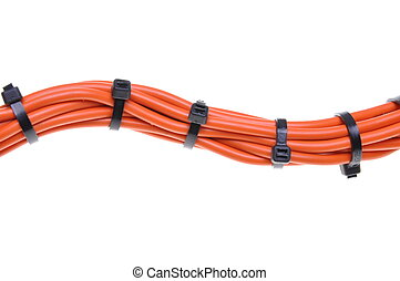 Power supply cable with cable ties on white background