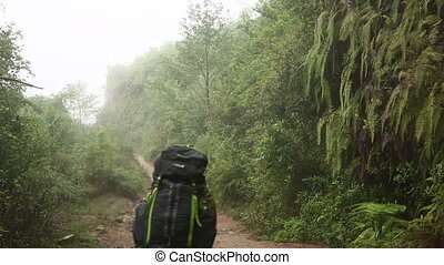trekking with huge backpack at himalayan mountains, Nepal -...