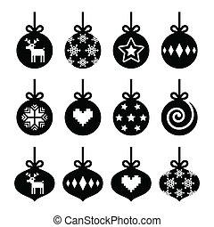 Christmas ball, bauble icons set