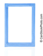 Blue frame - Blue wooden frame for photo isolated on white