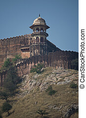 Fortification of Amber Fort near Jaipur - The Amber Fort,...
