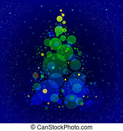 Abstract shining christmas tree on dark blue background