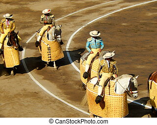 Bullfighters in the ring traditional picadors horse and...