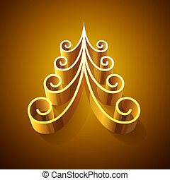 lucente, dorato, 3D, Natale, albero