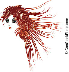 Girl with long red hair - Beautiful girl with long lashes...