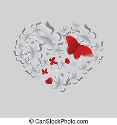 Heart of paper butterflies - Heart made of grey and red cut...