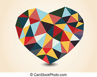 Origami polygonal heart. Vector Illustration.