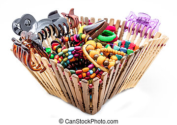 A basket of  fashion accessories  of woman
