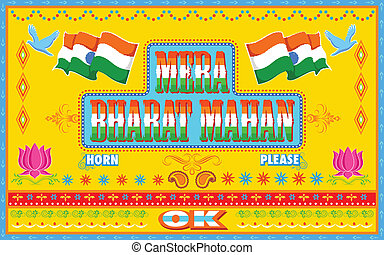 Mera Bharat Mahan in truck paint style - illustration of...